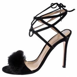 Gianvito Rossi Black Suede And Mink Trim Zelda Ankle Wrap Sandals Size 38 258141
