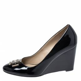 Tory Burch Black Patent Leather Wedge Pumps Size 39