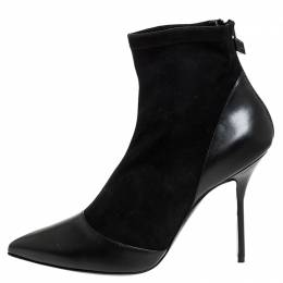 Pierre Hardy Black Suede And Leather Dolly Pointed Toe Ankle Boots Size 42 256142