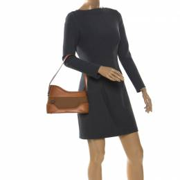 Kenzo Tan Leather and Canvas Bucket Bag