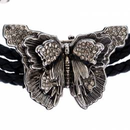 Alexander McQueen Black Braided Leather Crystal Butterfly Charm Layered Bracelet 258200