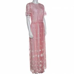 Burberry Rose Pink Embroidered Tulle Short Sleeve Dress S 257972