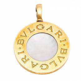 Bvlgari Bvlgari Onyx Stainless Steel & Mother of Pearl 18K Yellow Gold Reversible Large Pendant 258195