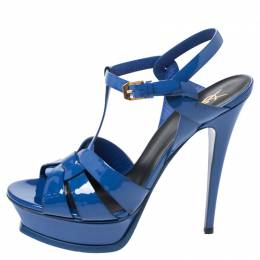 Saint Laurent Blue Patent Leather Tribute Platform Sandals Size 39.5 258177