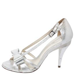 Fendi Silver Foil Leather Bow Detail Ankle Strap Sandals Size 37.5 258179