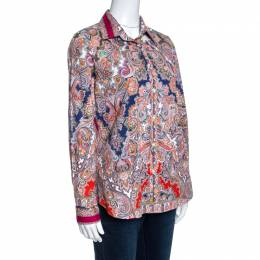 Etro Multicolor Paisley Print Stretch Cotton Button Front Shirt M 257984
