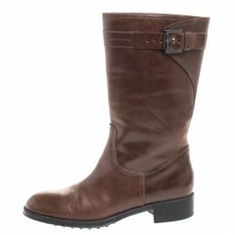 Tod's Brown Leather Mid Calf Buckle Detail Biker Boots Size 38 Tod's
