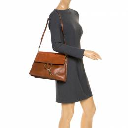 Chloe Brown Leather and Suede Faye Shoulder Bag
