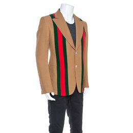 Gucci Camel Wool And Silk-Blend Web Striped Blazer XXL 246131