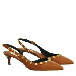 Valentino Brown Leather Rockstud Slingback Kitten Pumps Size 39.5