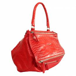 Givenchy Red Croc Leather Top Handle Bag