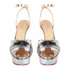 Charlotte Olympia Metallic Pink Leather Decodent Sandals Size 38.5 217054