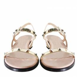 Valentino Gold Leather Rockstud Sandals Size 38.5
