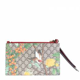 Gucci Brown GG Tiger Canvas Double Pouch Clutch 220311