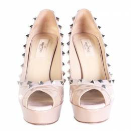 Valentino Nude Patent Leather Rockstud Peep Toe Pumps Size 38.5