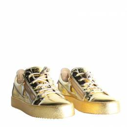 Giuseppe Zanotti Design Gold Patent Leather Double Zip Sneakers Size 39