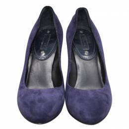 Celine Blue Suede Chunky Pumps Size 38 200701