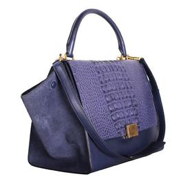 Celine Blue Suede & Snake Skin Leather Trapeze Bag 200217