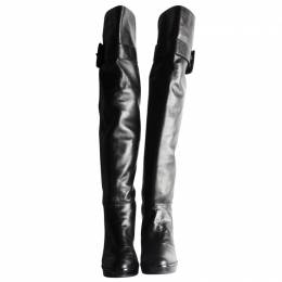 Stuart Weitzman Black Leather Buckley Over Knees Boots Size 41.5