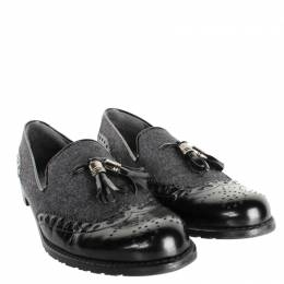 Stuart Weitzman Black/Gray Leather Flannel Loafers Size 39.5 198452