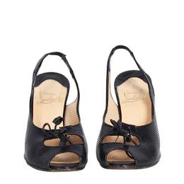 Christian Louboutin Black Leather Submaria Peep Toe Slingback Sandals Size 37.5