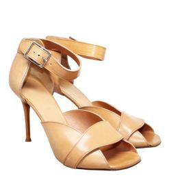 Celine Brown Leather Ankle Strap Sandals Size 38.5 190027