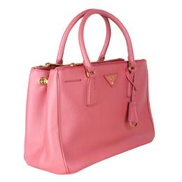 Prada Pink Tamaris Saffiano Lux Leather Double Zip Tote Bag 189814