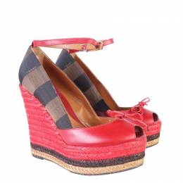 Fendi Red Leather And Striped Canvas Ankle Strap Espadrilles Wedge Pumps Size 38 187731