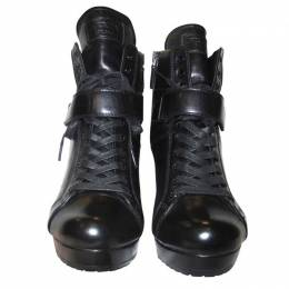Prada Black Leather Platform Sneakers Size 35 188512