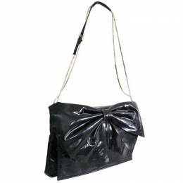 Valentino Black Patent Leather Bow Clutch Bag