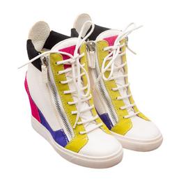 Giuseppe Zanotti Design White Colorblock Leather Wedge Sneakers Size 37.5
