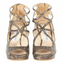 Jimmy Choo Brown Snake Embossed Leather Sandals Size 36.5 191950