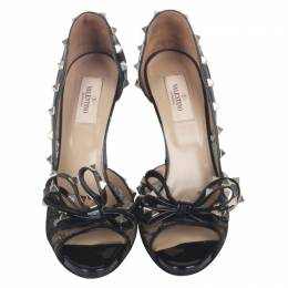 Valentino Black Leather And Lace Pumps Size 39 190995