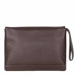 Lanvin Brown Leather Envelope Clutch 191000