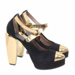 Marni Black/Gold Suede And Patent Leather Platform Pumps Size 37 188817
