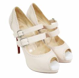 Christian Louboutin Beige Leather Peep Toes Pumps Size 39.5 188815