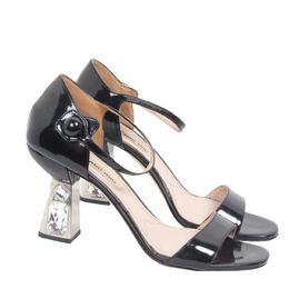 Miu Miu Black Patent Leather Heel Sandals Size 37 188811