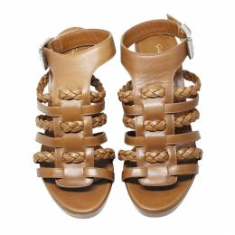 Gianvito Rossic Brown Leather Braid Heel Sandals Size 37 190192