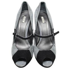 Miu Miu Gray/Black Suede Peep Toe Pumps Size 38.5