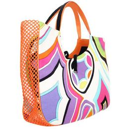 Emilio Pucci Multicolour Leather Cotton Print Bag