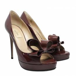 Valentino Brown Patent Leather Couture Bow Peep Toe Pump Size 38.5