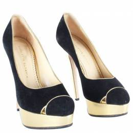 Charlotte Olympia Black/Gold Leather Platform Pumps Size 39 193059