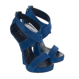Giuseppe Zanotti Design Blue Suede Wedge Pumps Size 35