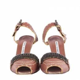 Manolo Blahnik Brown Leather Rustic Heel Sandals Size 37 189721