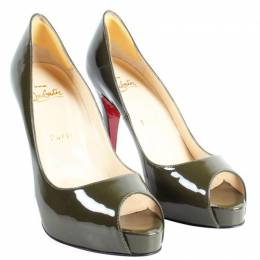 Christian Louboutin Green Patent Leather Peep Toe Pumps Size 36