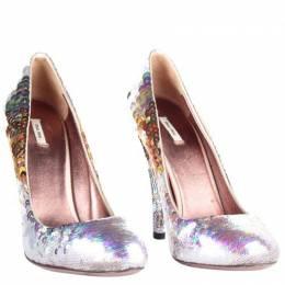 Miu Miu Silver Sequins Heel Pumps Size 36