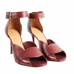 Celine Burgundy Leather Heel Sandals Size 35.5 191753