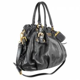 Prada Black Calfskin Leather Medium Shoulder Bag 192116