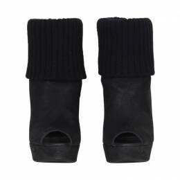 Prada Black Suede Nero Cabra Antic Lux Peep Toe Boots Size 35.5 190711