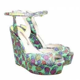 Sophia Webster Green Pineapple Print Wedges Sandals Size 39
